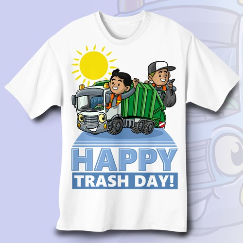 "Garbage Truck T-Shirt Design for Kids ""Happy Trash Day"""