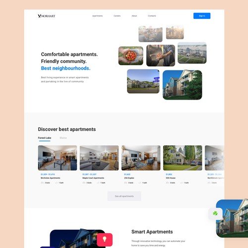 Home page design for a real estate company Norhart