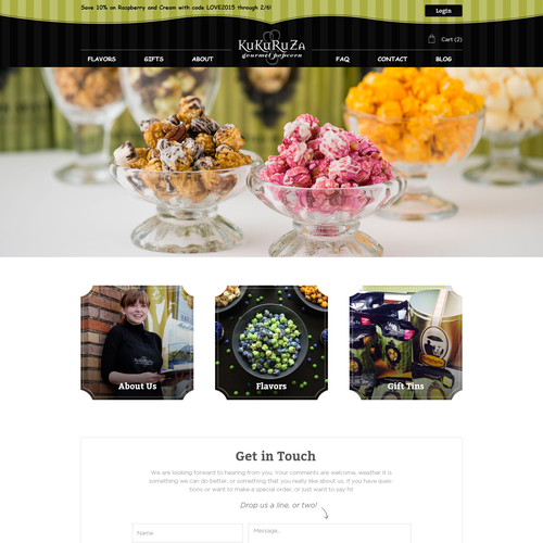 Create a captivating new website for KuKuRuZa Gourmet Popcorn