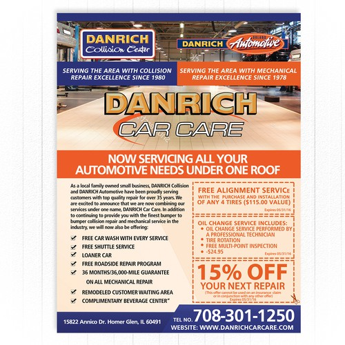 Flyer for Danrich Car Care