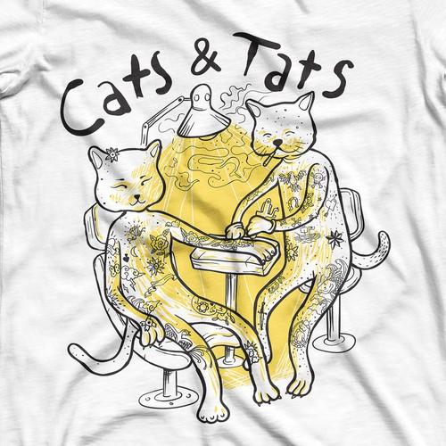 Cats & Tats T shirt cartoon style