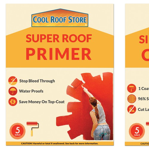 Create a pair of labels for a superior roof coating system.