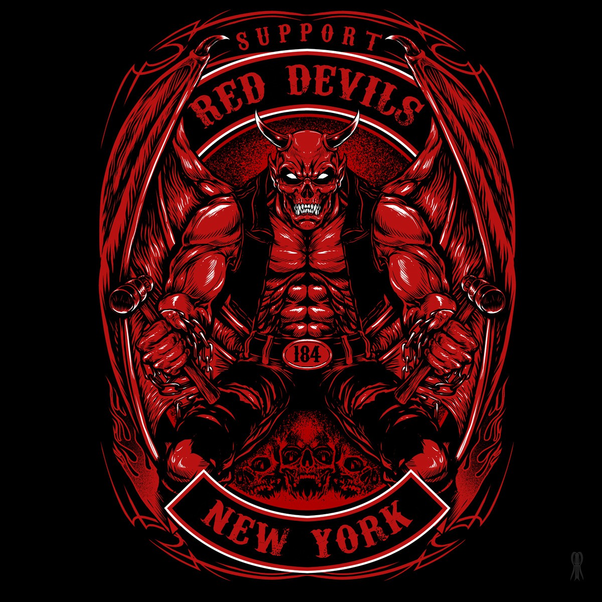 Red Devils Motorcycle Club T-Shirt Design (HARDCORE!)