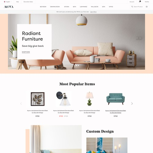 Furniture brand shop home page