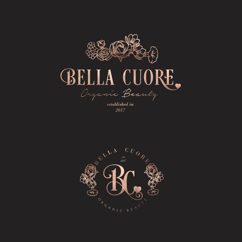 Beautiful hand-drawn logo design for Bella Cuore-Green beauty store
