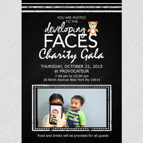 Invitation for Developing Faces Charity Gala