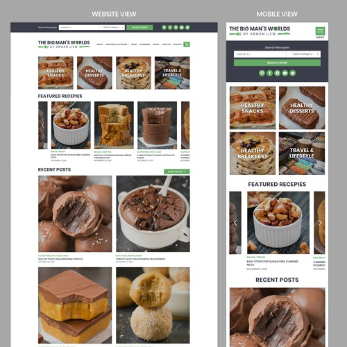 Landing Page and Website for Popular Healthy Recipe and Travel blog
