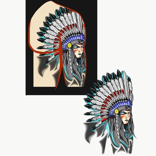 Aztec goddess simple colour tattoos