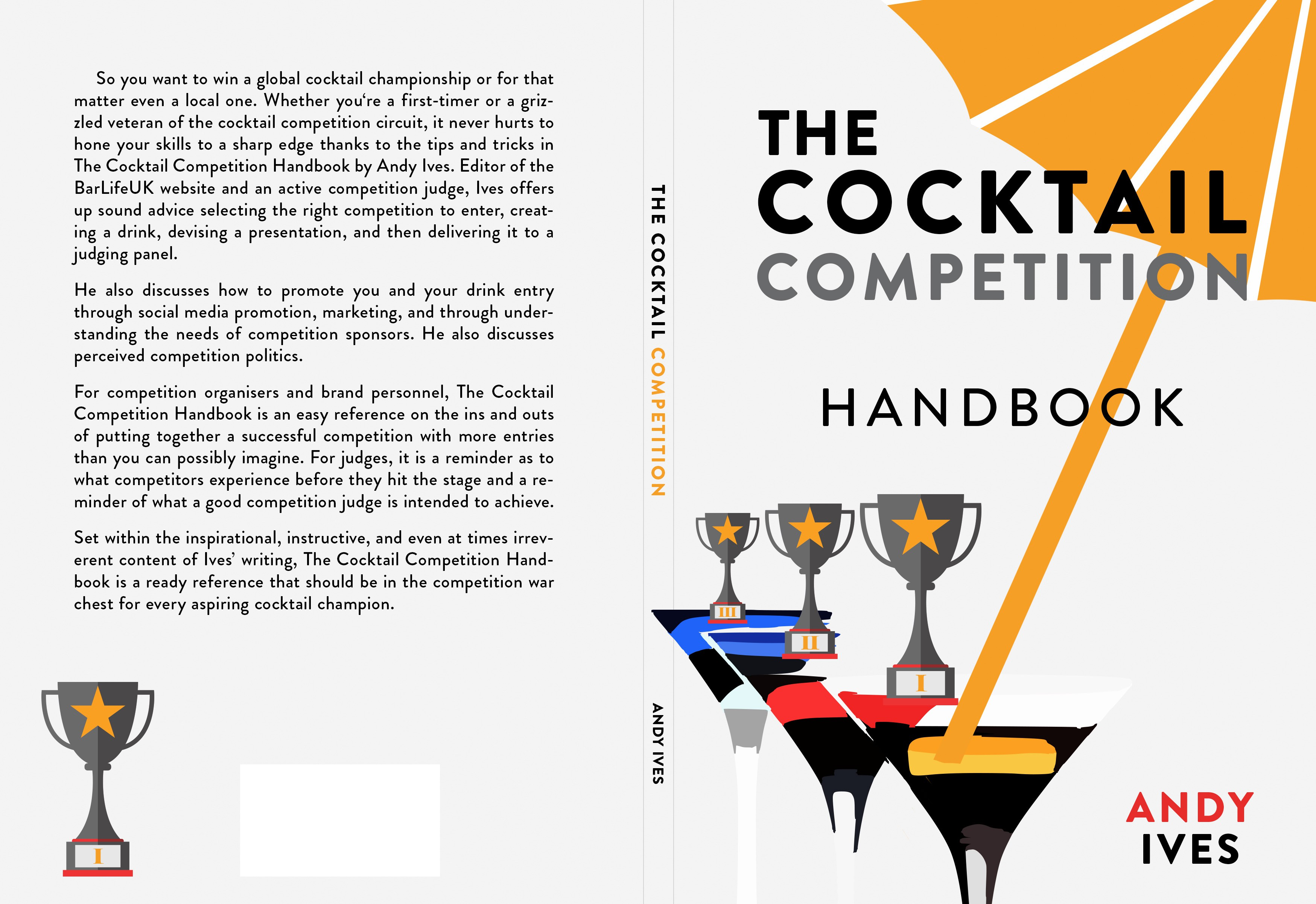 Design a cover for the first book of tips on winning cocktail competitions