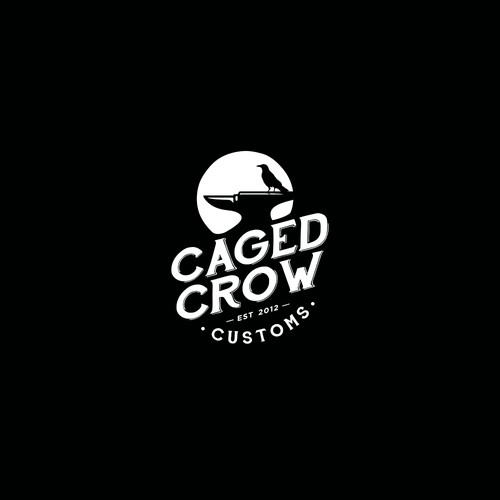 "Vintage Logo Design for ""Caged Crow Customs"