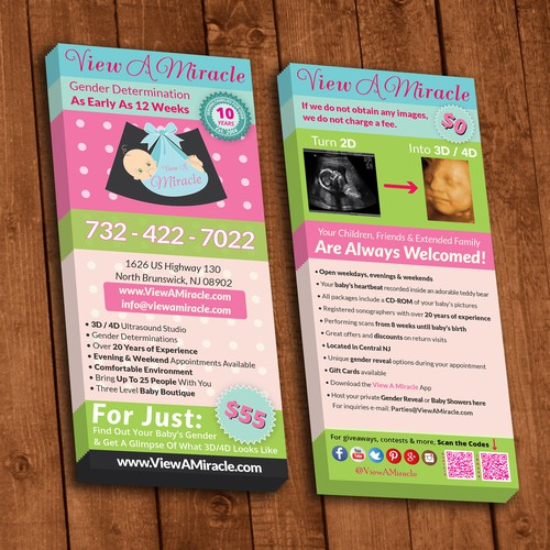 Two sided leaflet for View A Miracle