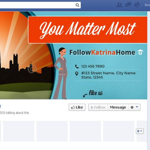 Create a real estate page inspiring clients to FollowKatrinaHome!