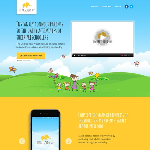 Landing page design for preschool app