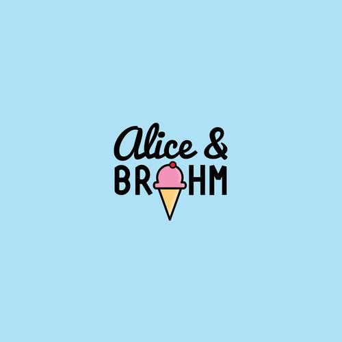 Ice cream food truck logo