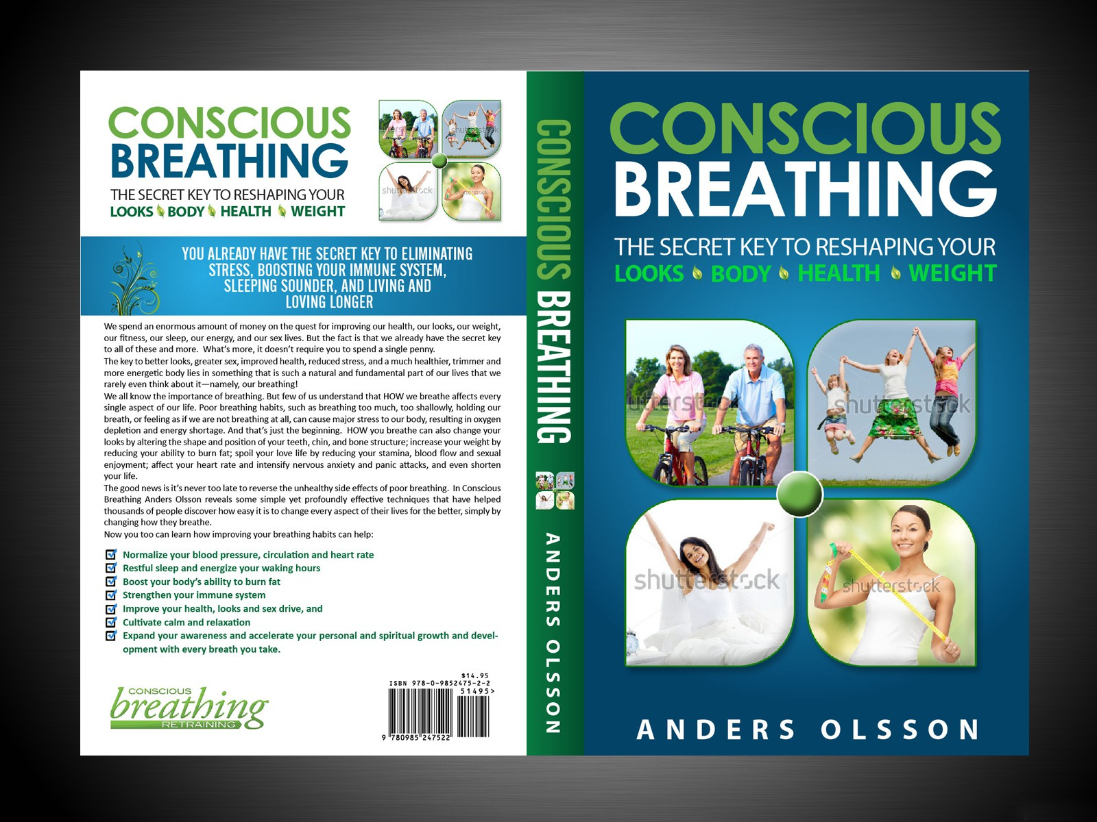 "Design a book cover for ""Conscious Breathing"""