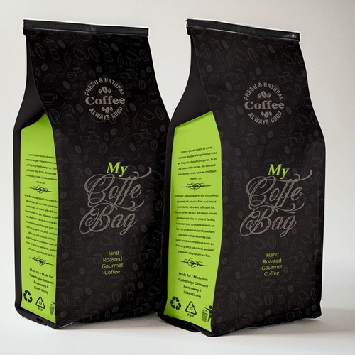 Elegant dark Coffee bag design cocnept