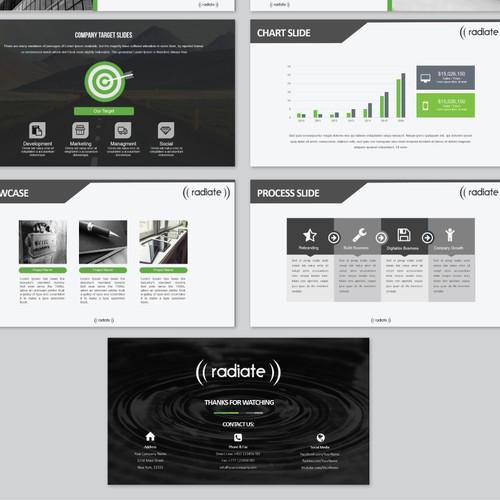 A digital marketing brand called Radiate needs a clean, modern PowerPoint template!