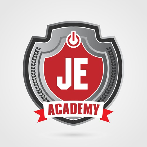 Create a classic college emblem for an emerging tech academy...