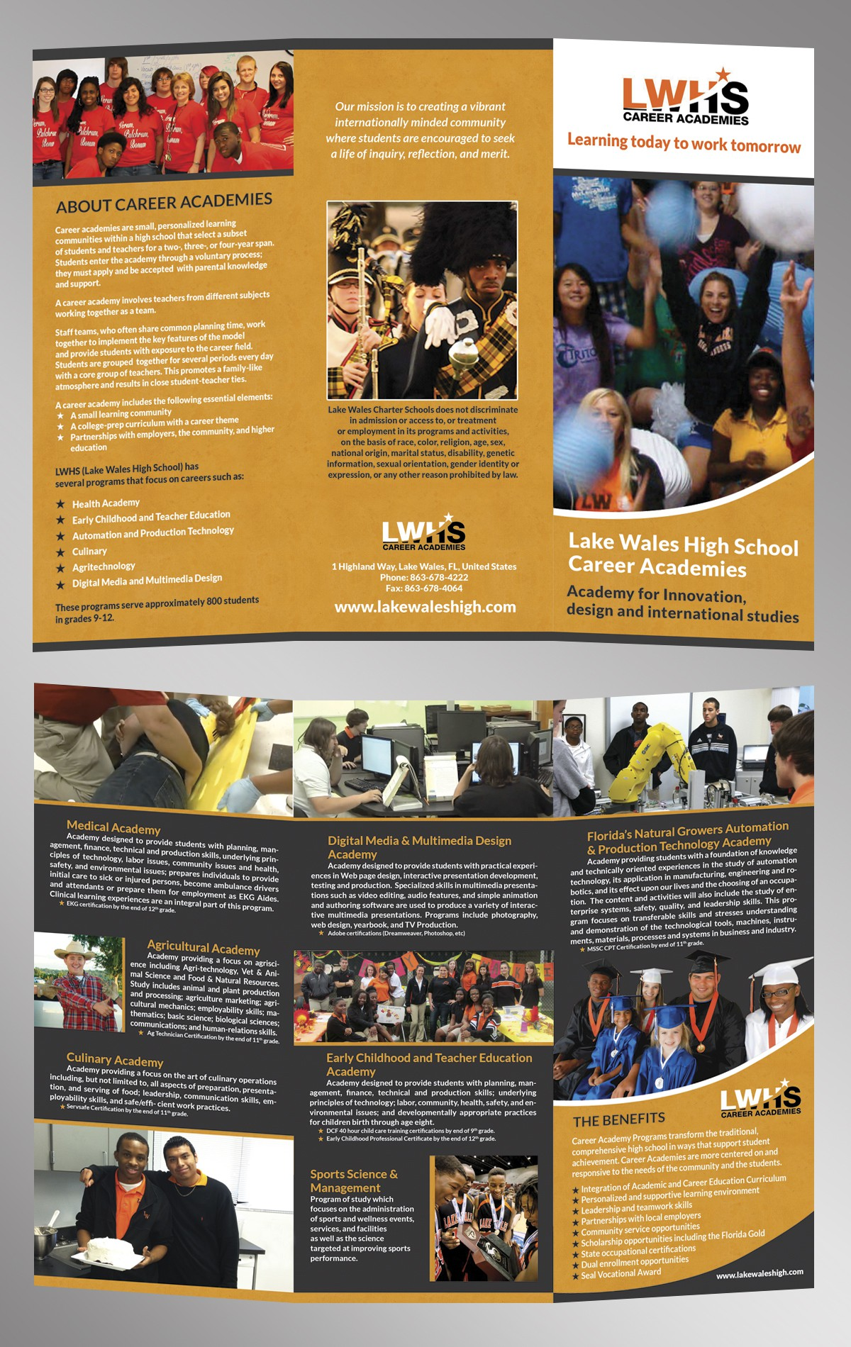 Create the next brochure design for Lake Wales High School Career Academies