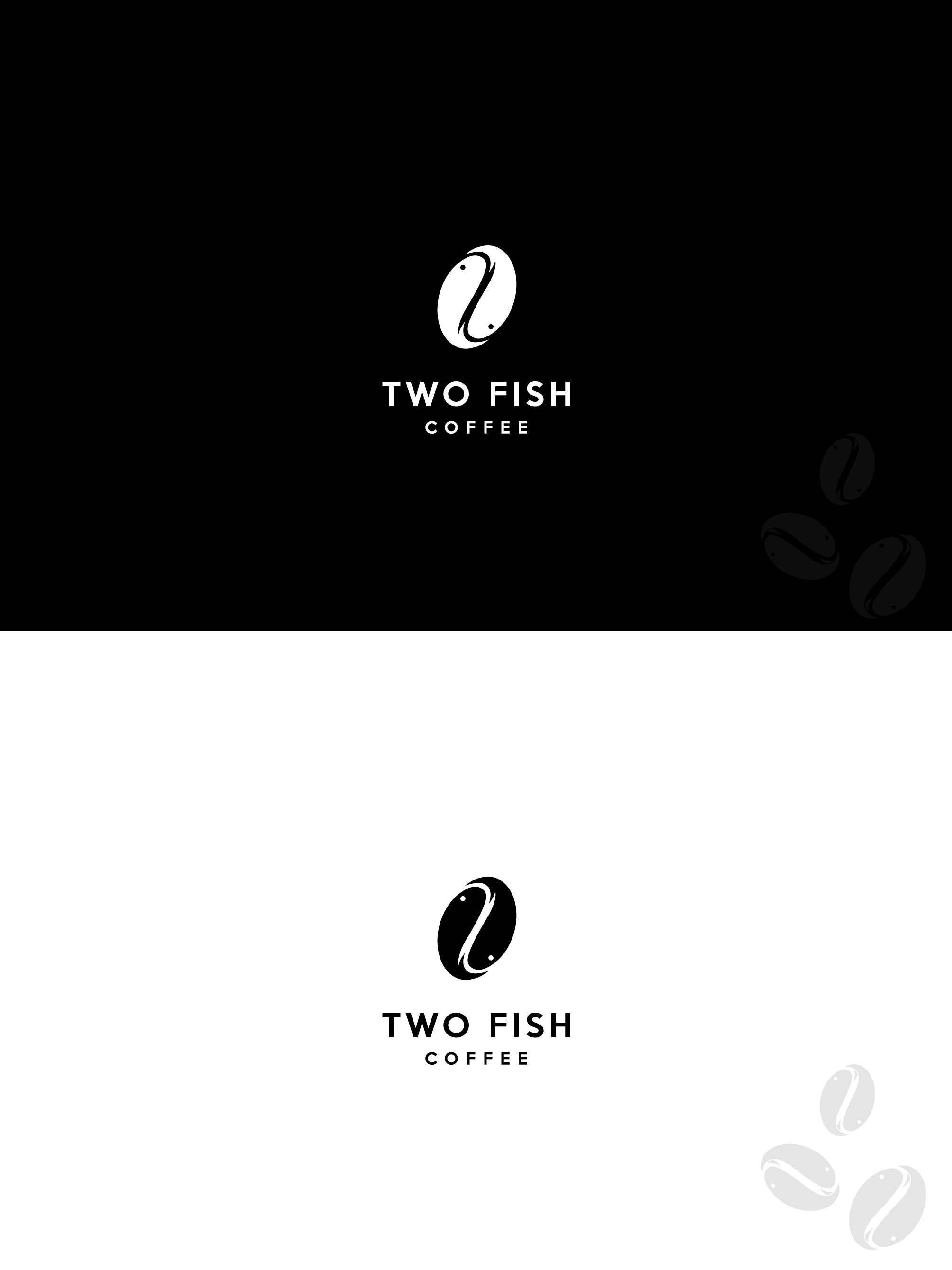 Create a design that marries two fish with a specialty coffee roasting business