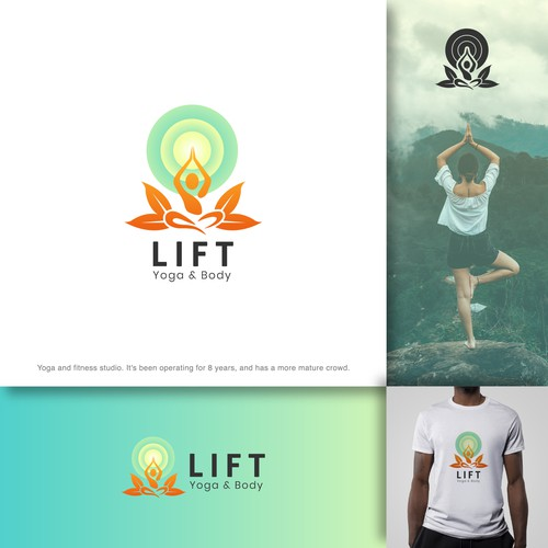 Smooth and spiritual yoga logo design