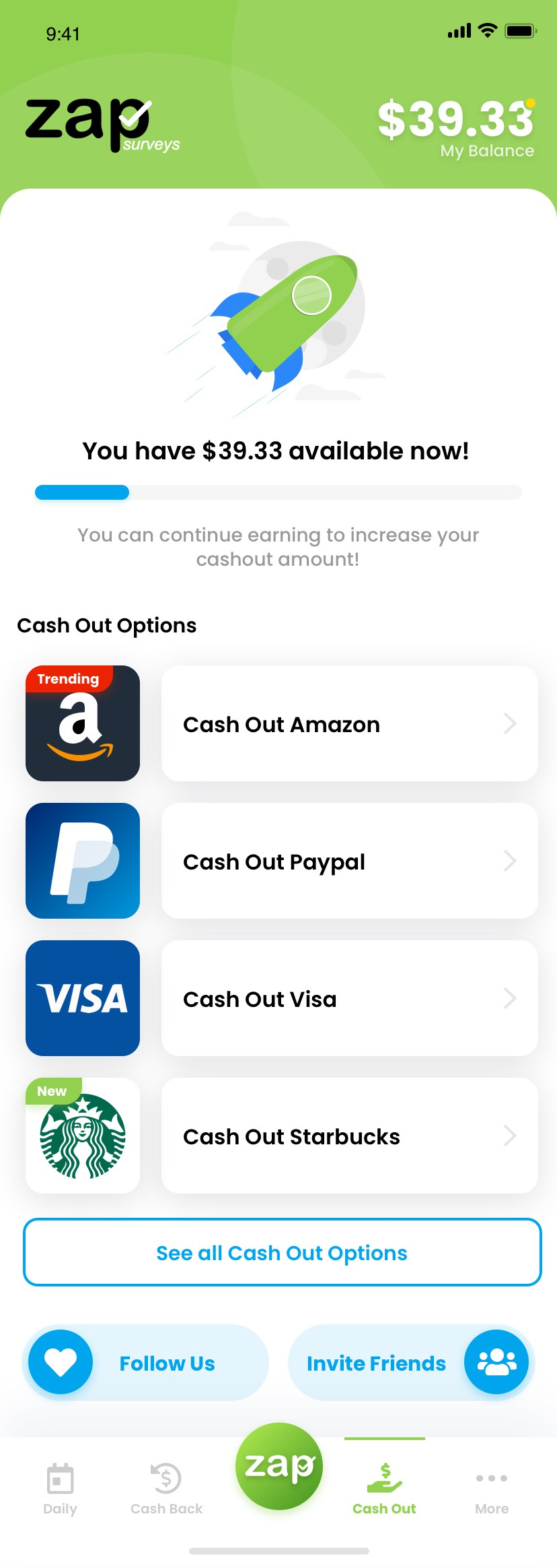 Mobile App Screen - Cash Out Screen