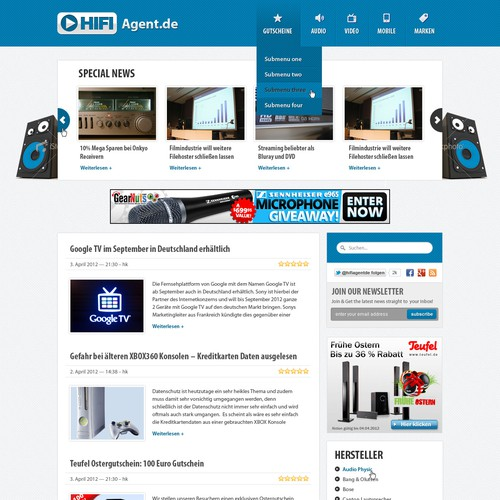 Website re-design for Hifi-Agent (audio/video news)