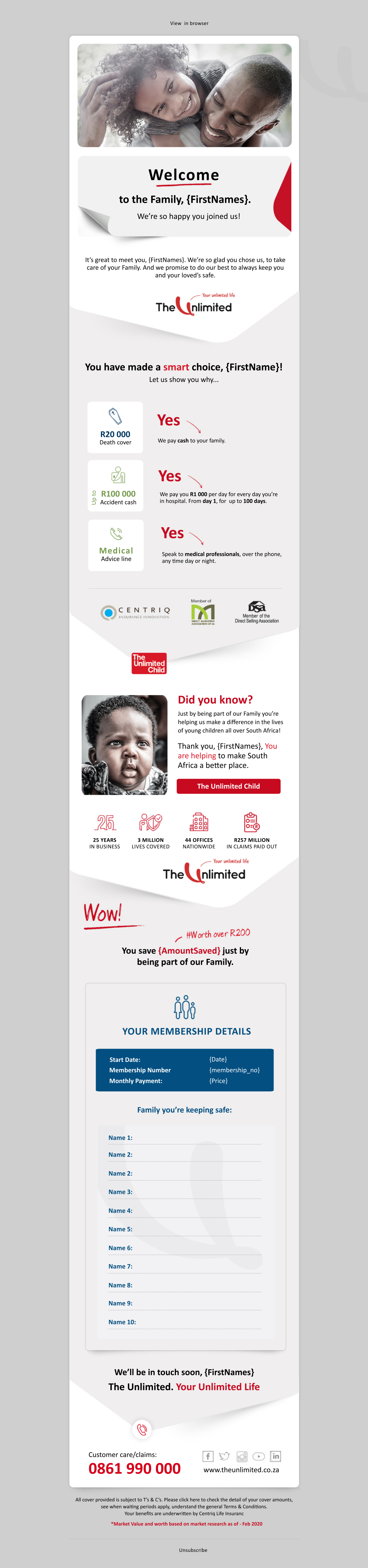 Welcome Email / Brochure