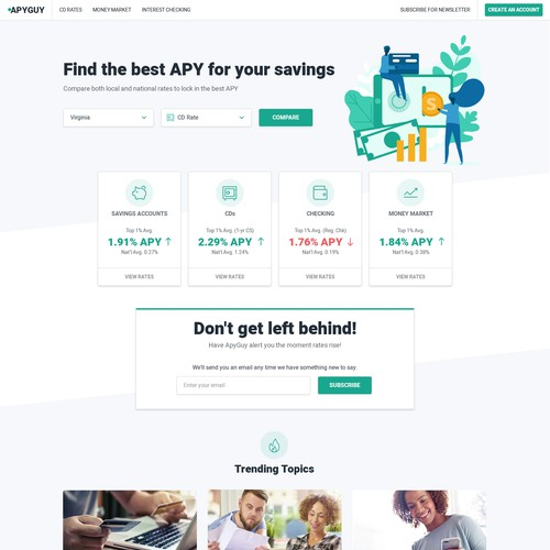 Webdesign for savings account comparison website