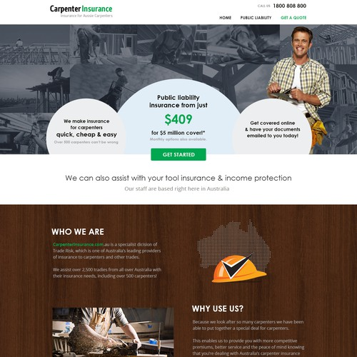 Create a great landing page for an insurance company.