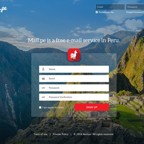 Logon and Signup Page Design For Mail.pe