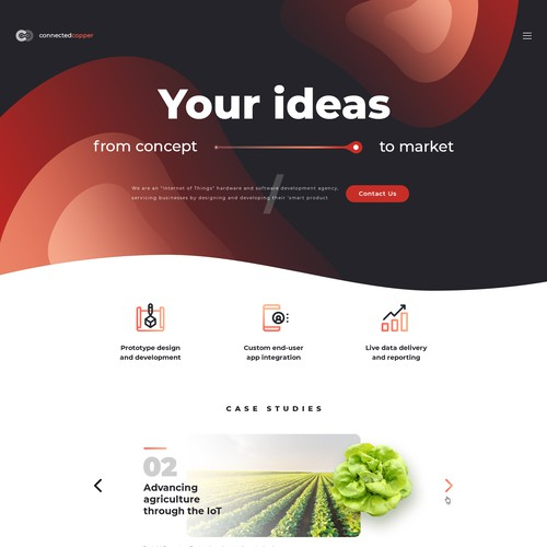 Landing Page Concept for High Tech Startup