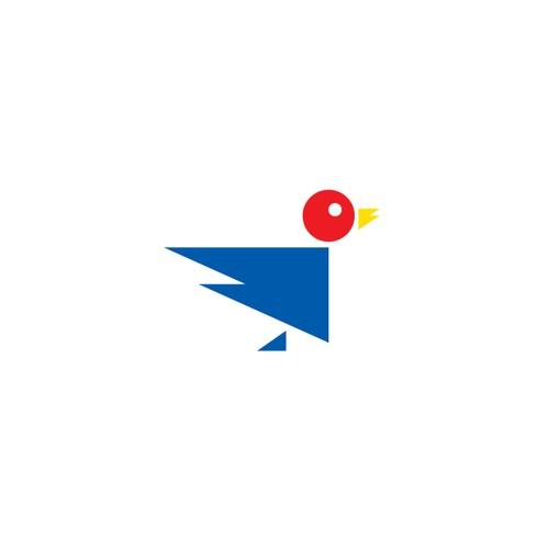 Bauhaus style Twitter logo