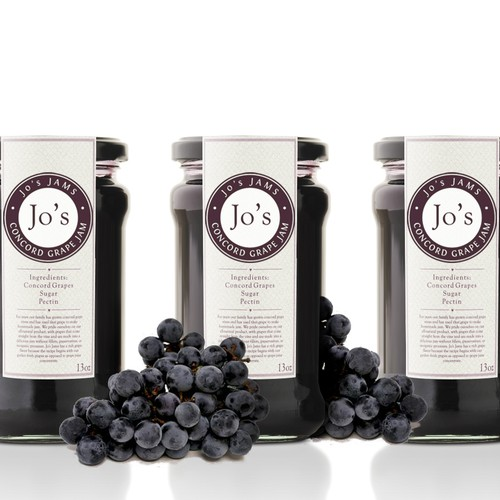 Create a product label for Jo's Jams, All Natural Concord Grape Jam