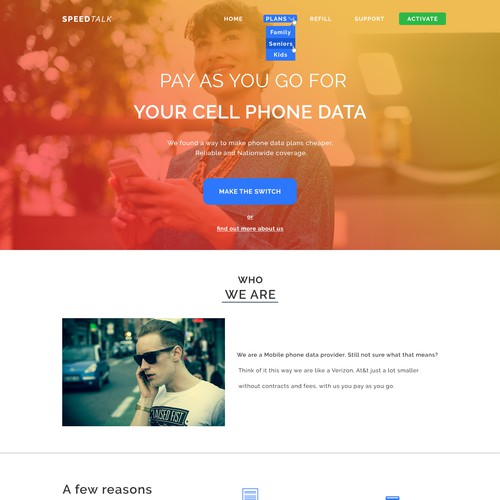 Website concept for a Phone Carrier