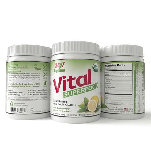Label design for 24/7 Organics