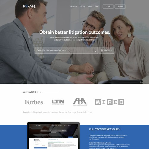 Docket Alram Home Page Re-Design