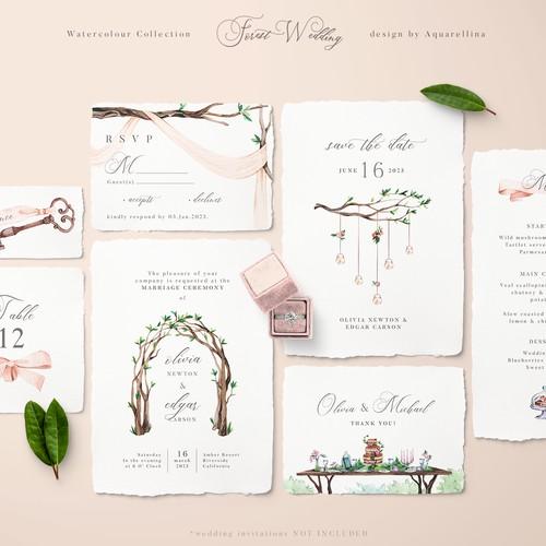 Forest Wedding Illustrations