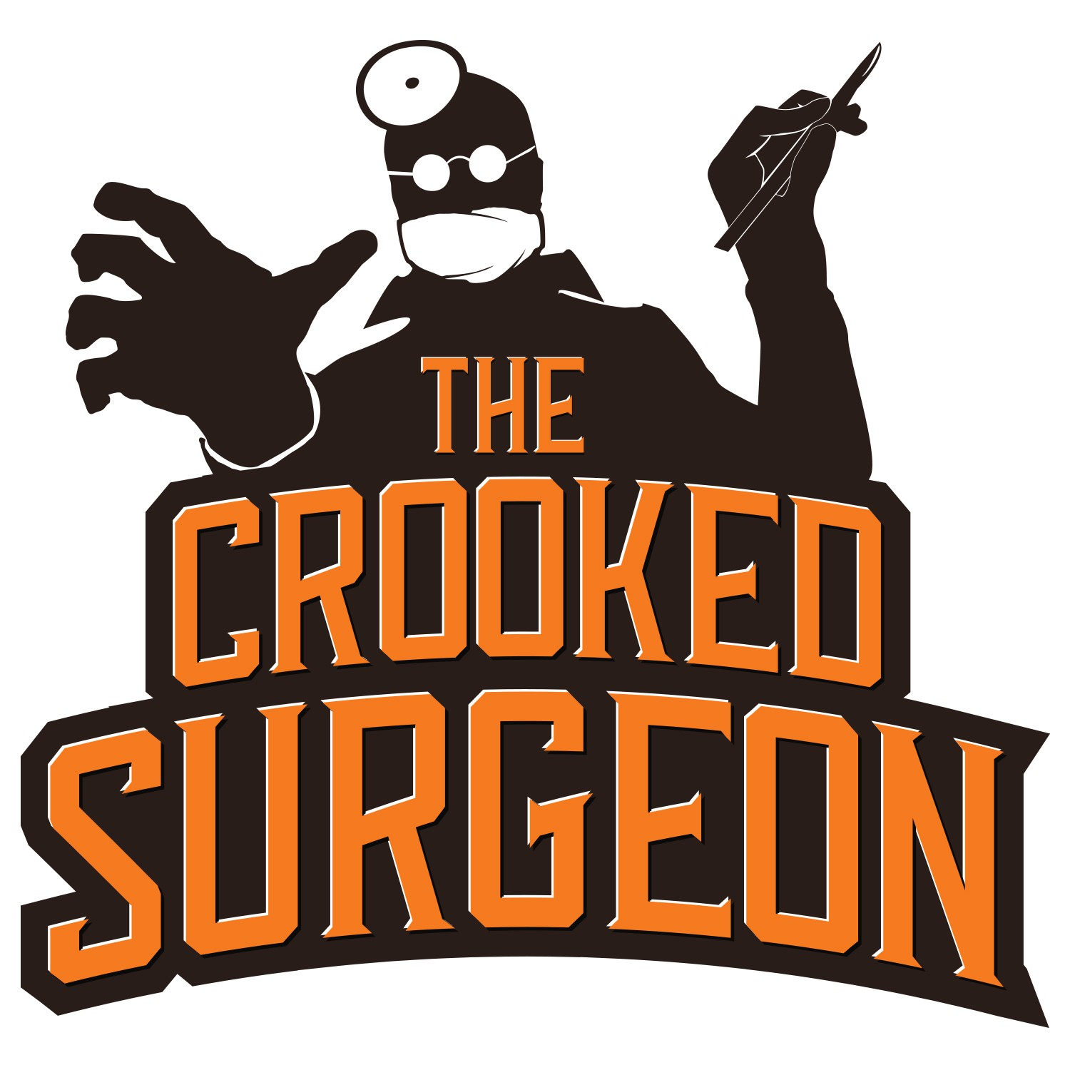 What logo does the brainy arch-villain/pub owner, The Crooked Surgeon, shine in the night sky?