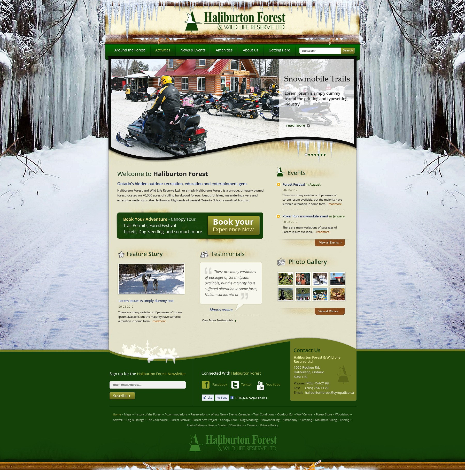 Eye Catching Website for Outdoor Lover's Paradise: Haliburton Forest in Ontario/Canada