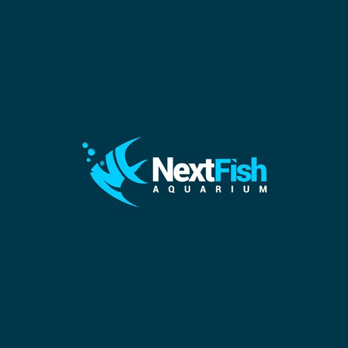 smart initial logo for modern fish & aquarium shop