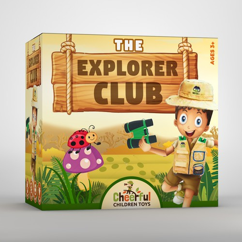 Kids explorer set package design concept
