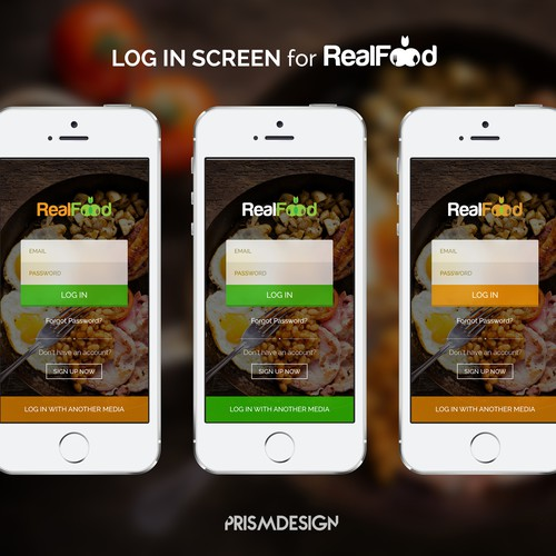 Log In Screen of RealFood