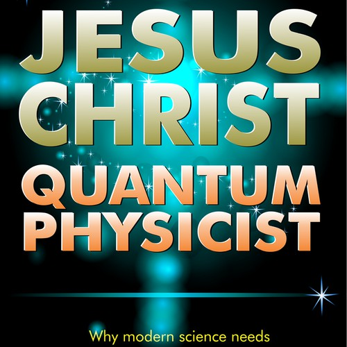 Create an inspiring eBook cover for a popular-scientific book about quantum physics and Trinity