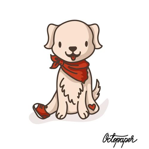 Illustration of 3-legs dog