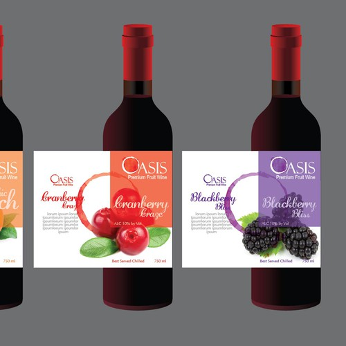 Wine Label for Premium Line of Fruit-Infused Wines