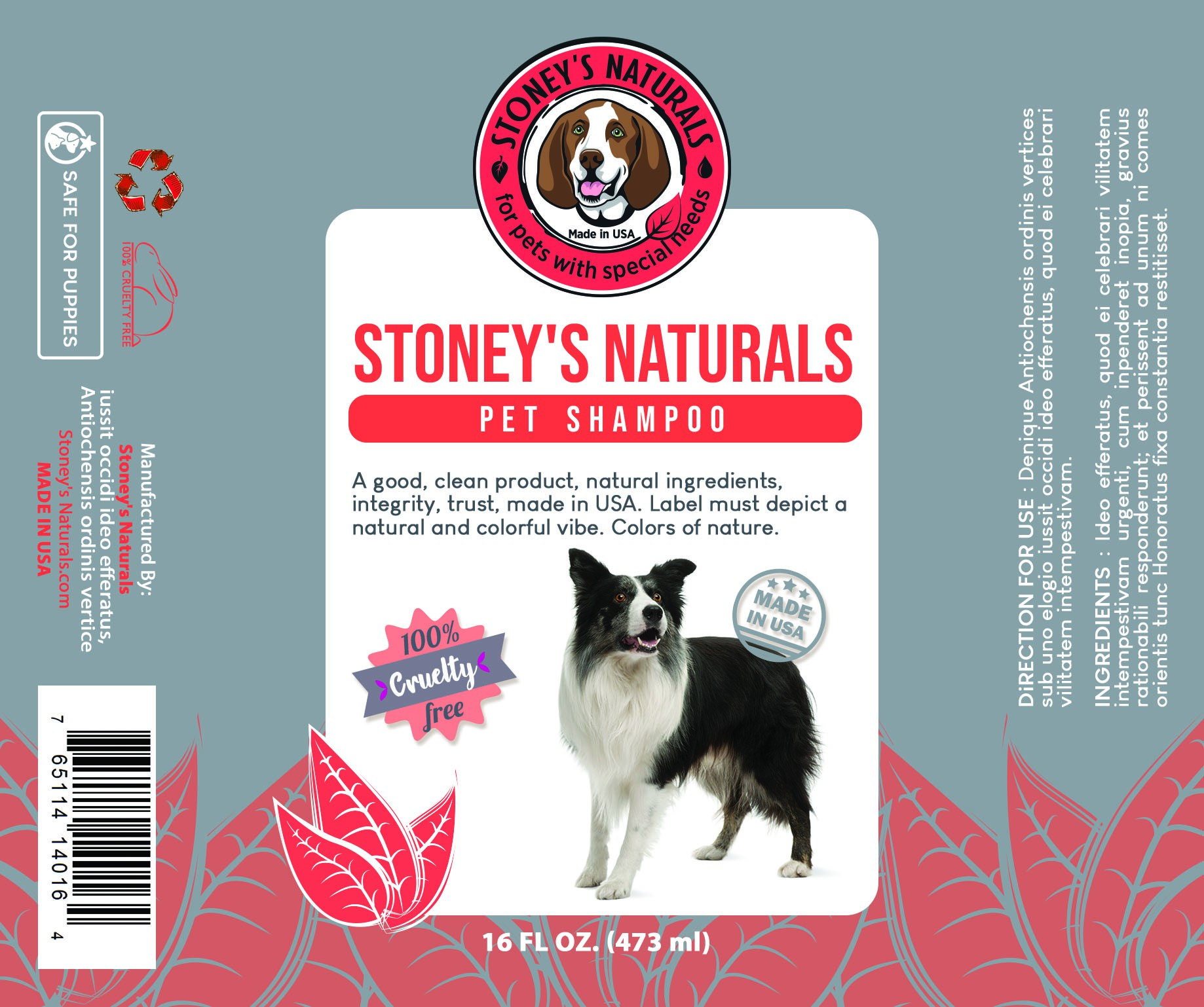 Eye catching pet shampoo product label