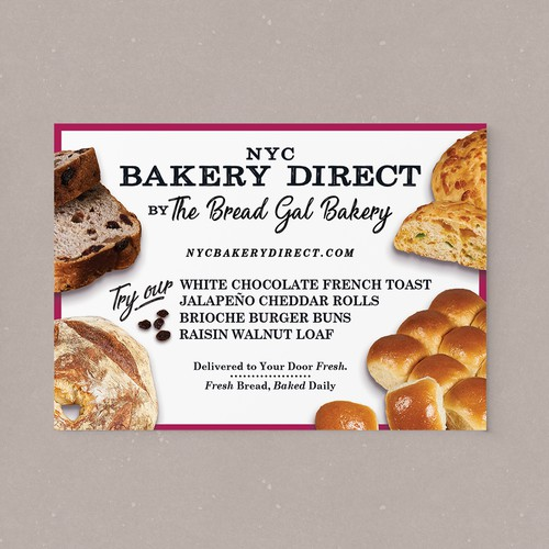 Post card Flyer for NYC Bakery Direct by The Bread Gal Bakery