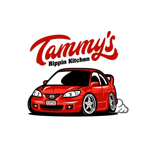 Logo for a car themed Barbeque Restaurant