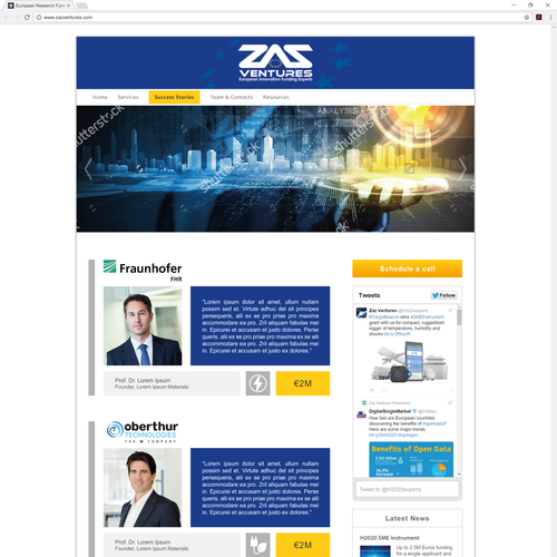 Web page design for ZAZ Ventures